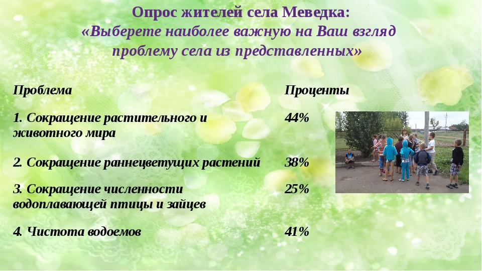 Опрос жителей села Меведка: «Выберете наиболее важную на Ваш взгляд проблему...