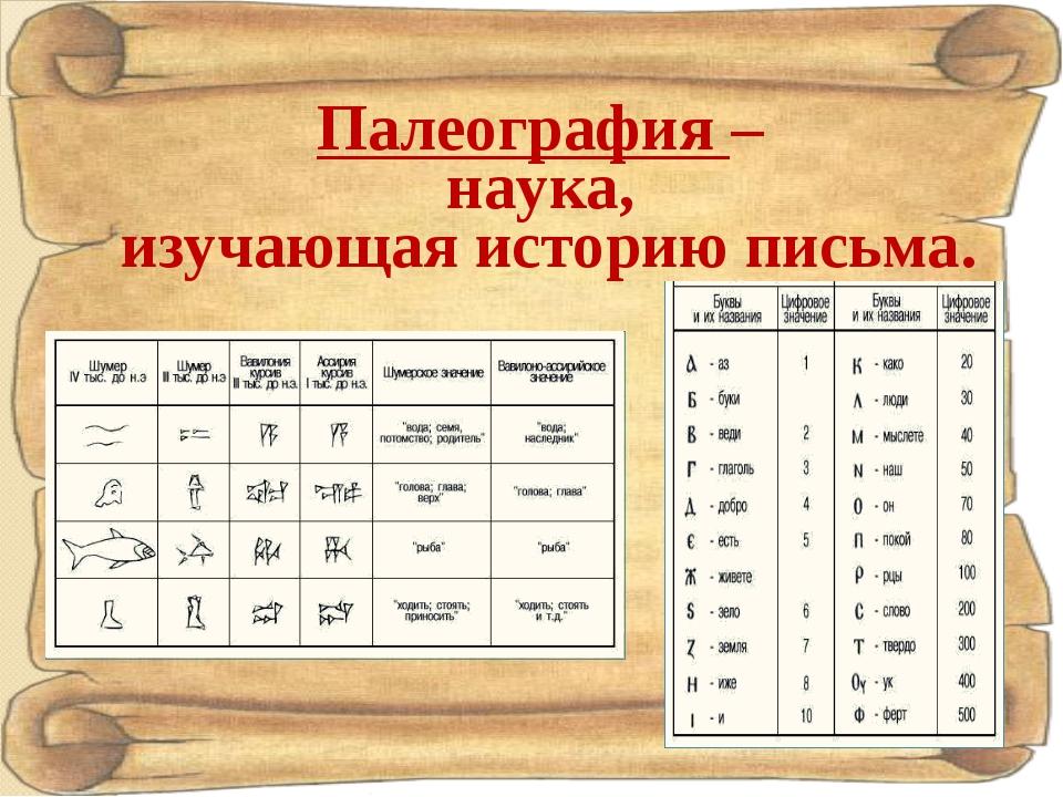 Палеография – наука, изучающая историю письма.