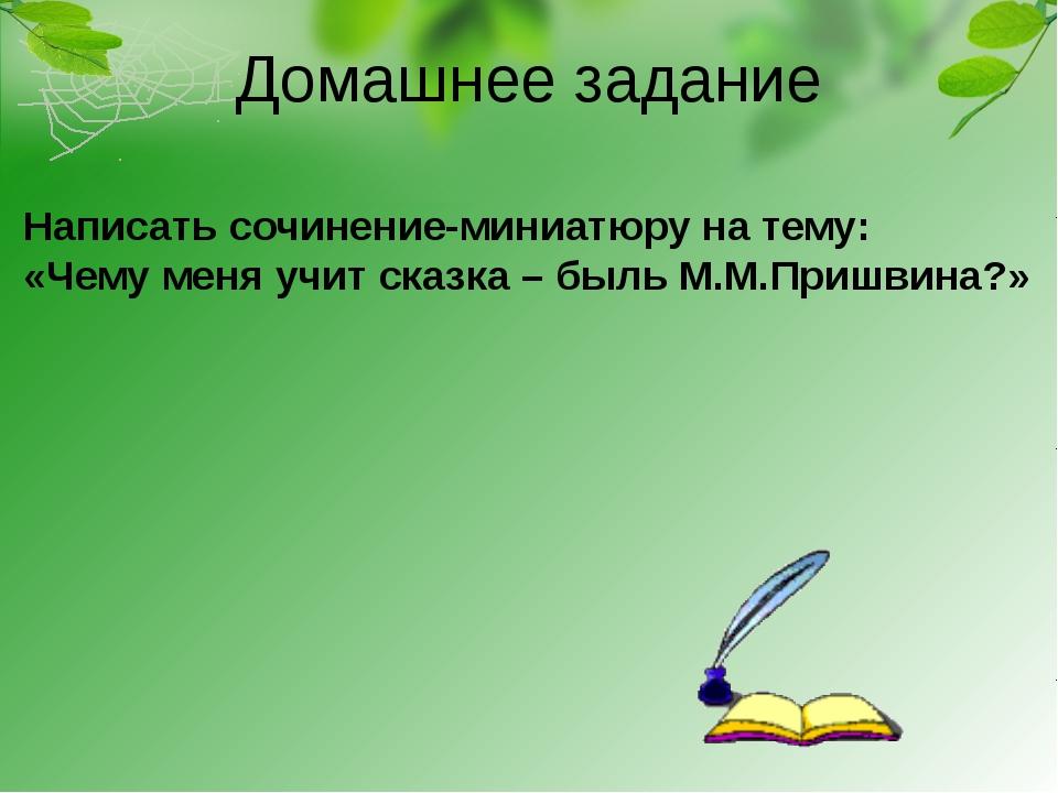 Домашнее задание Написать сочинение-миниатюру на тему: «Чему меня учит сказка...