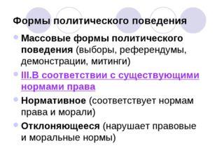 Формы политического поведения Массовые формы политического поведения (выборы,