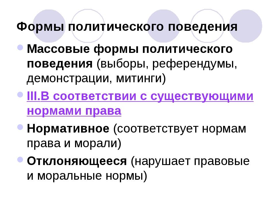Формы политического поведения Массовые формы политического поведения (выборы,...