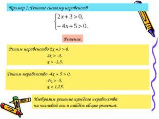 Пример 1. Решите систему неравенств Решение. Решим неравенство 2х +3 > 0. 2х