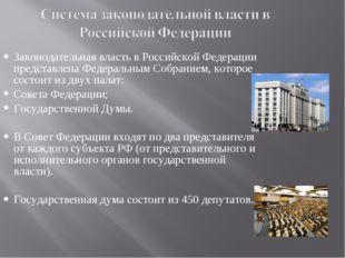 Законодательная власть в Российской Федерации представлена Федеральным Собран