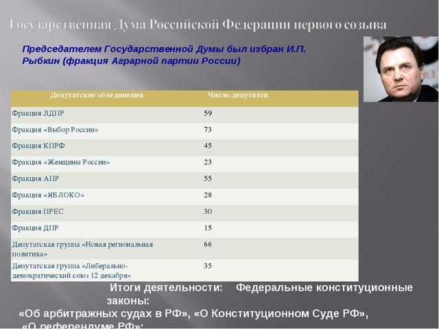 Председателем Государственной Думы был избран И.П. Рыбкин (фракция Аграрной п...