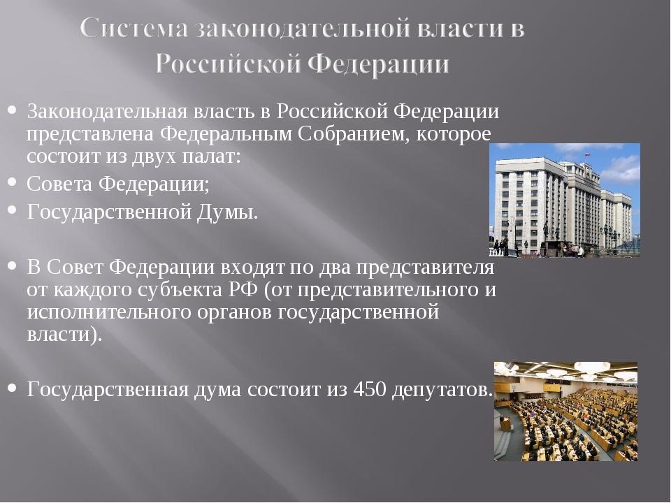 Законодательная власть в Российской Федерации представлена Федеральным Собран...