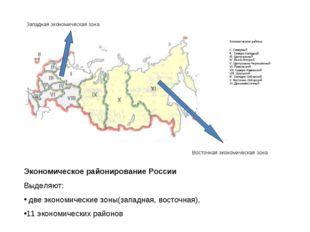 Экономическое районирование России Выделяют: две экономические зоны(западная