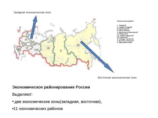 Экономическое районирование России Выделяют: две экономические зоны(западная...