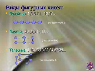 Виды фигурных чисел: Линейные: 1,3,5,7,11,13,17... Плоские: 4,6,8,9,10,12...