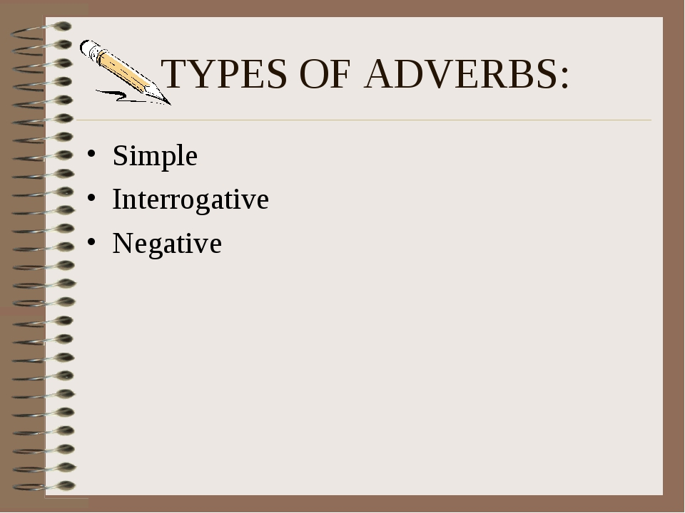 TYPES OF ADVERBS: Simple Interrogative Negative