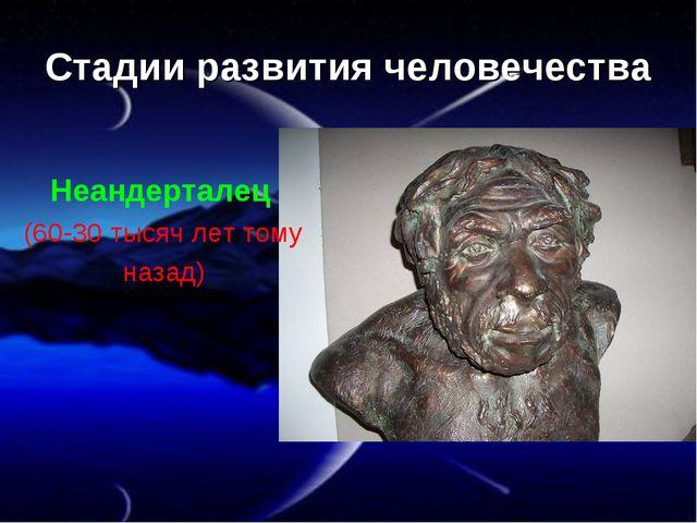 Стадии развития человечества Неандерталец (60-30 тысяч лет тому назад)