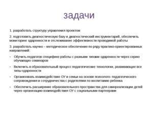 задачи 1. разработать структуру управления проектом 2. подготовить диагностич