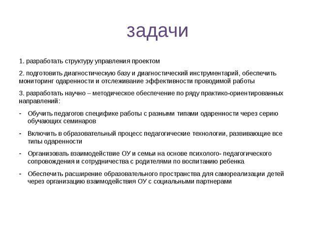 задачи 1. разработать структуру управления проектом 2. подготовить диагностич...