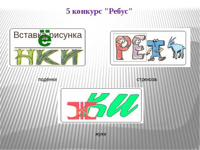 """5 конкурс """"Ребус"""" подёнки стрекоза жуки"""