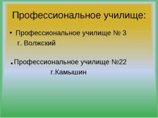Профессиональное училище: Профессиональное училище № 3 г. Волжский .Профессио