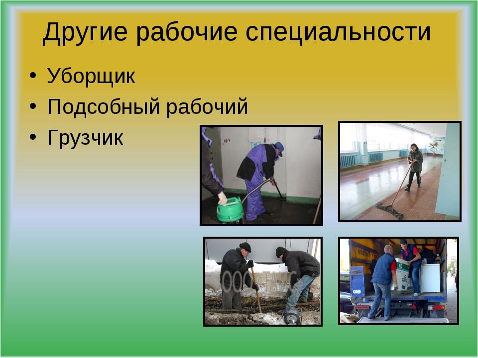 Другие рабочие специальности Уборщик Подсобный рабочий Грузчик