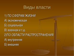 Виды власти 1) ПО СФЕРАМ ЖИЗНИ А) экономическая Б) социальная В) военная и т.