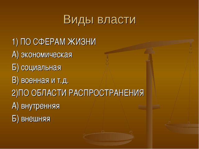 Виды власти 1) ПО СФЕРАМ ЖИЗНИ А) экономическая Б) социальная В) военная и т....