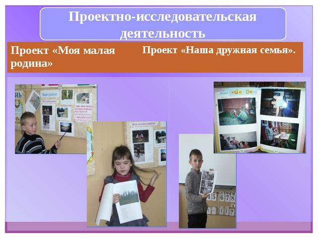 Проектно-исследовательская деятельность Проект «Моя малая родина» Проект«Наша...