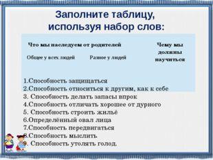 Заполните таблицу, используя набор слов: 1.Способность защищаться 2.Способнос