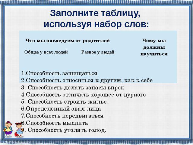 Заполните таблицу, используя набор слов: 1.Способность защищаться 2.Способнос...
