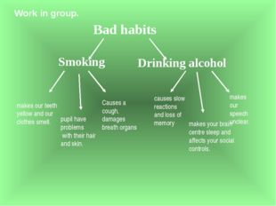 Work in group. Smoking Drinking alcohol Bad habits pupil have problems with t