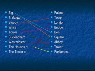 Big Trafalgar Bloody White Tower Buckingham Westminster The Houses of The Tow