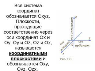 Вся система координат обозначается Охуz. Плоскости, проходящие соответственно