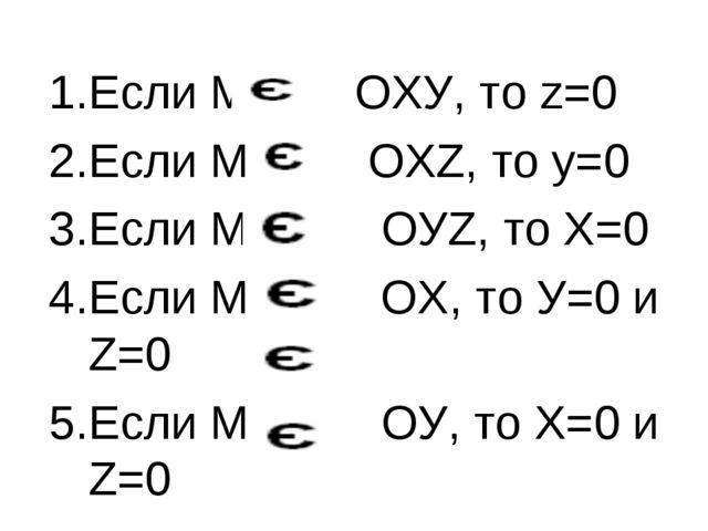 Если М ОХУ, то z=0 Если М OXZ, то у=0 Если М OУZ, то X=0 Если М ОХ, то У=0 и...