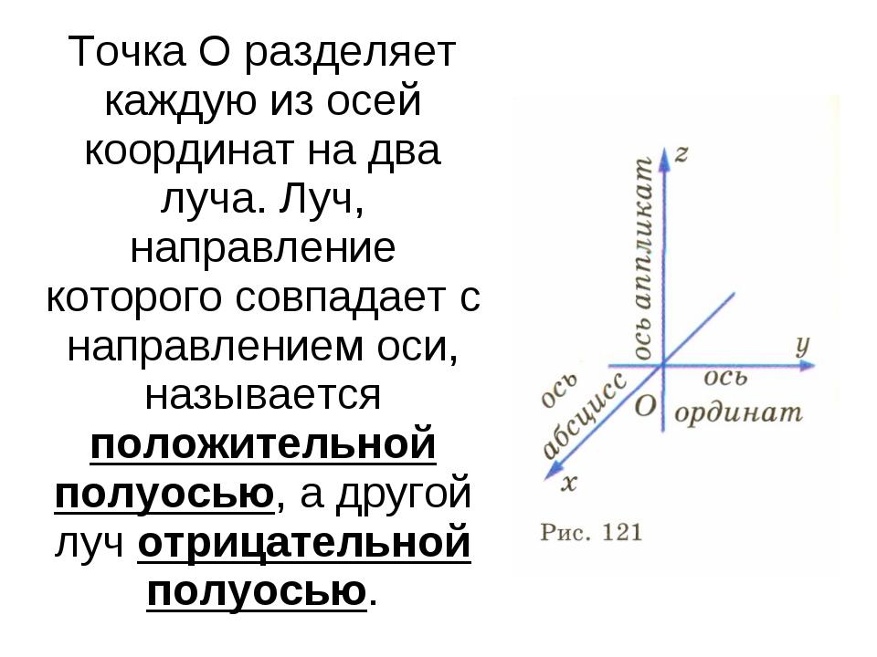 Точка О разделяет каждую из осей координат на два луча. Луч, направление кото...