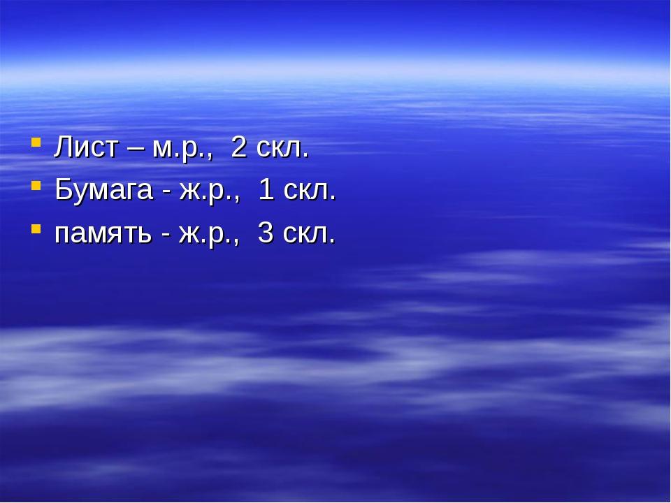 Лист – м.р., 2 скл. Бумага - ж.р., 1 скл. память - ж.р., 3 скл.