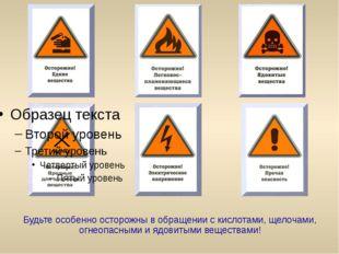Будьте особенно осторожны в обращении с кислотами, щелочами, огнеопасными и я