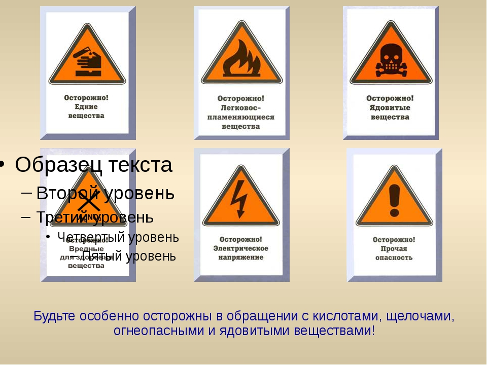 Будьте особенно осторожны в обращении с кислотами, щелочами, огнеопасными и я...