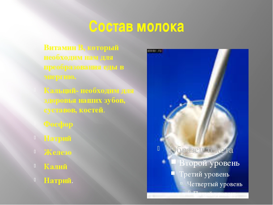 Состав молока Витамин В, который необходим нам для преобразования еды в энерг...