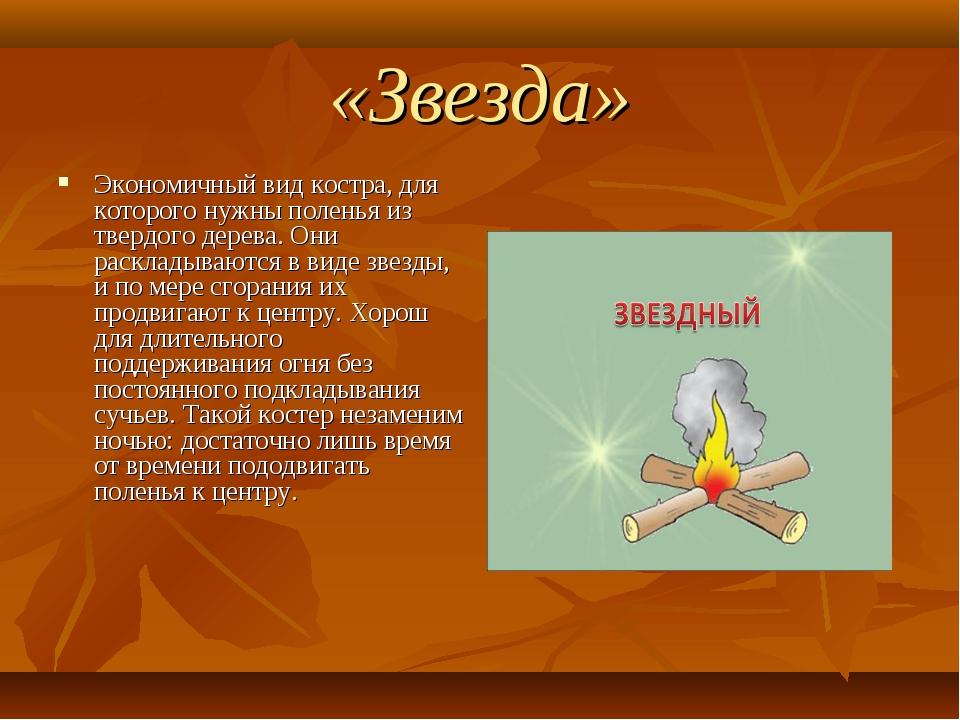 «Звезда» Экономичный вид костра, для которого нужны поленья из твердого дерев...