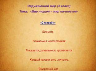 Окружающий мир (4 класс) Тема: «Мир людей – мир личностей» «Cинквейн» Личност