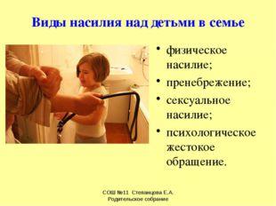 Виды насилия над детьми в семье физическое насилие; пренебрежение; сексуально