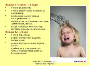 Возраст 6 месяцев – 1,5 года: боязнь родителей; боязнь физического контакта с