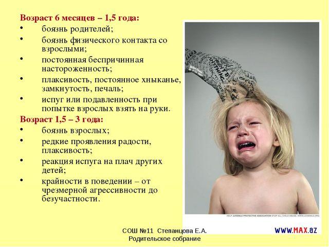 Возраст 6 месяцев – 1,5 года: боязнь родителей; боязнь физического контакта с...