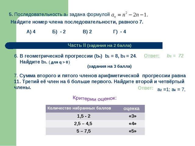 Г) - 4 А) 4 Б) - 2 В) 2 Часть II (задания на 2 балла) 6. В геометрической про...