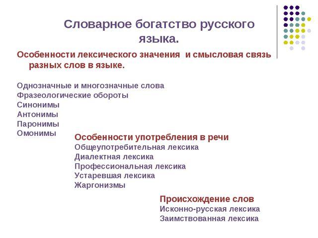 Словарное богатство русского языка. Особенности лексического значения и смысл...