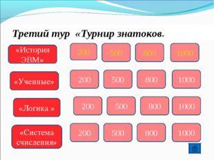 Третий тур «Турнир знатоков» «История ЭВМ» 200 500 800 1000 «Ученные» 200 500