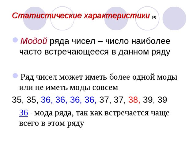 Статистические характеристики (3) Модой ряда чисел – число наиболее часто вст...