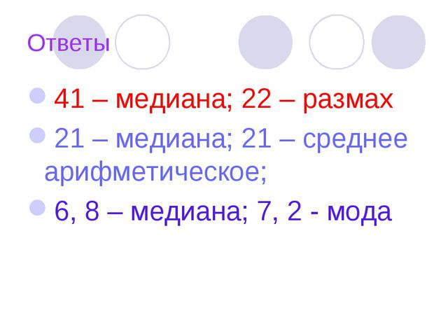 Ответы 41 – медиана; 22 – размах 21 – медиана; 21 – среднее арифметическое; 6...