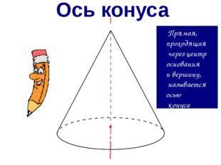 Ось конуса Прямая, проходящая через центр основания и вершину, называется ось
