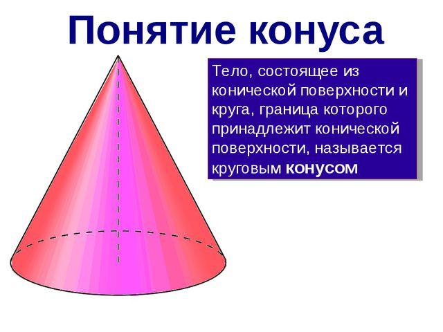 Тело, состоящее из конической поверхности и круга, граница которого принадлеж...