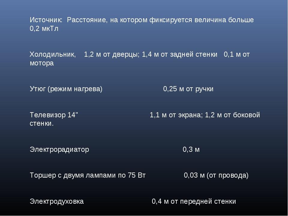Источник: Расстояние, на котором фиксируется величина больше 0,2 мкТл Холодил...