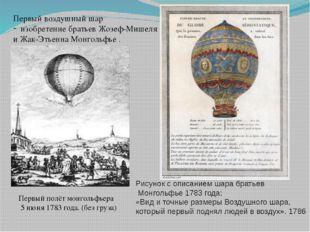 Первый полёт монгольфьера 5 июня1783 года. (без груза) Рисунок с описанием