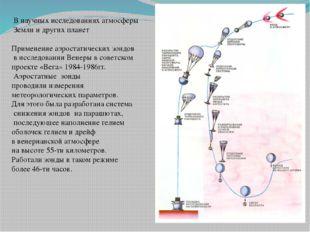 В научных исследованиях атмосферы Земли и других планет Применение аэростати