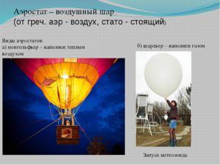 Аэростат – воздушный шар (от греч. аэр - воздух, стато - стоящий) Виды аэрост