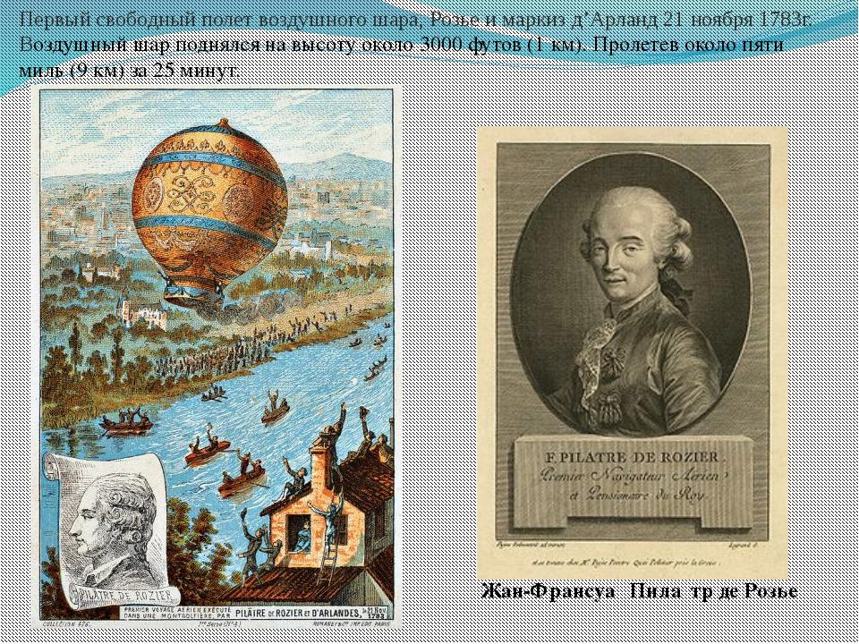 Жан-Франсуа́ Пила́тр де Розье́ Первый свободный полет воздушного шара, Розье...